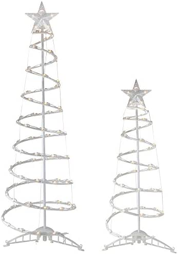 Northlight Set of 2 Pre Lit Spiral Christmas Trees 4 and 6 Clear Lights product image