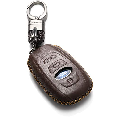 Vitodeco Leather Keyless Remote Smart Key Fob Case Cover with a Key Chain for 2019-2020 Subaru Forester, Impreza, Outback, WRX, BRZ, XV Crosstrek (4-Button, Brown)