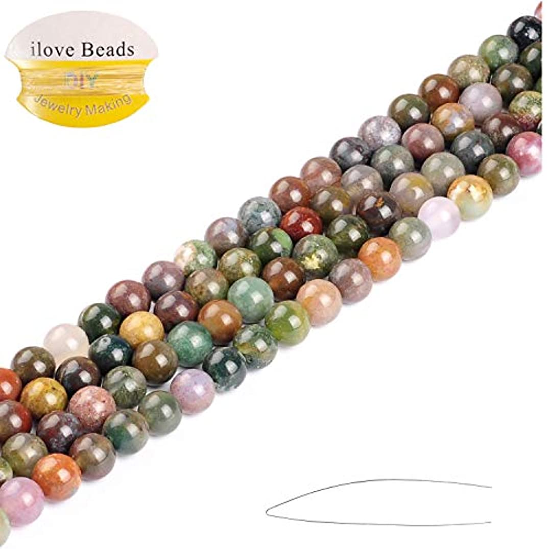 "ILVBD 2/3/4/6/8/10/12/14MM Natural Round India Agate Loose Strand Beads Bulk for Jewelry Making Wholesale One Strand 15"" (8MM)"