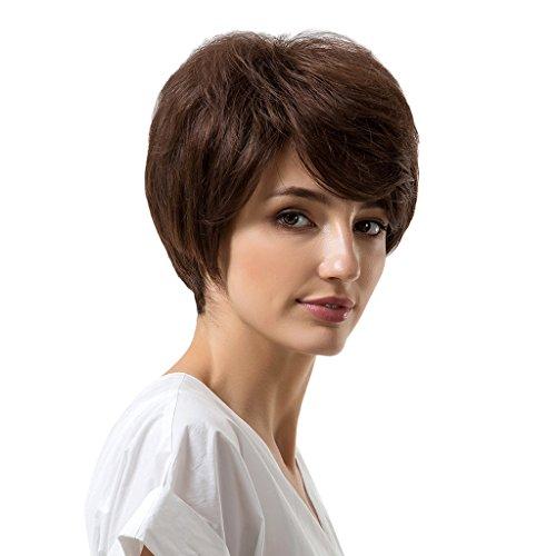 Baoblaze Perruque Naturel pour Femmes- Cheveux Courte Droites Naturel 25cm