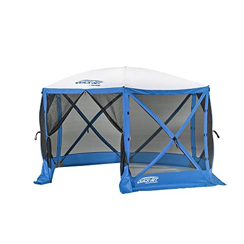 CLAM Quick-Set Escape Sport 11.5 x 11.5 Foot Portable Pop Up Outdoor Tailgating Screen Tent 6 Sided Canopy Shelter w/Stakes & Carry Bag, Blue