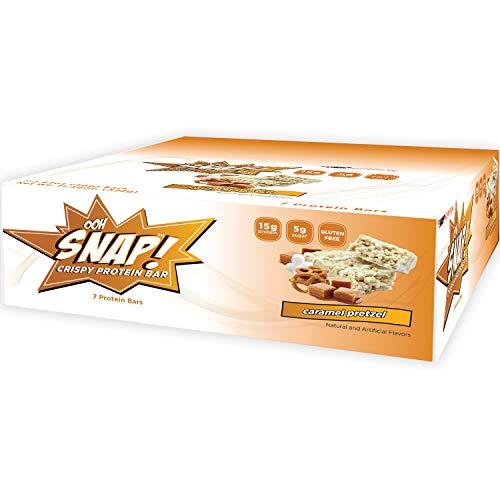 Ooh Snap Nutrition Gluten Free Crispy Protein Bar (Bulk 84 Bars) - Healthy Low Sugar Snack - Caramel Pretzel Flavor – 12 Count Boxes