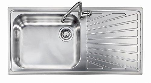 Fregadero de acero inoxidable satinado Platinum Vintage 10010 con cubeta individual y escurreplatos (escurreplatos a la derecha)