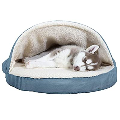 Furhaven Pet Dog Bed   Orthopedic Round Cuddle Nest Faux Sheepskin Snuggery Blanket Burrow Pet Bed w/ Removable Cover for Dogs & Cats, Blue, 26-Inch