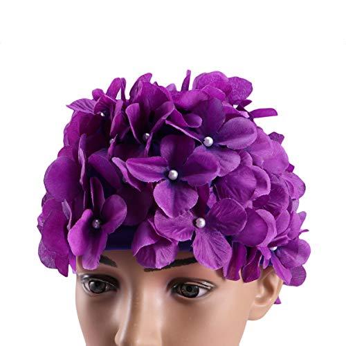 Bonnet de bain tendance Winomo avec pétales de fleurs - Taille L - Pour femme, violet, grand