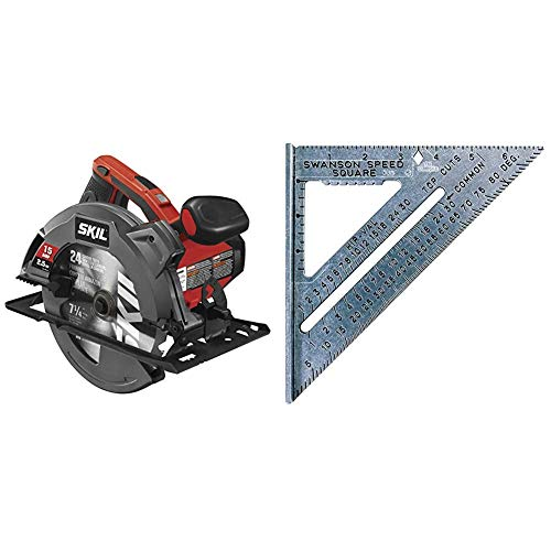SKIL 5280-01 15-Amp 7-1/4-Inch Circular Saw with Single Beam Laser Guide & Swanson Tool Co S0101 7 Inch Speed Square Tile
