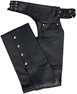 Hot Leathers Fully Lined Leather Chaps (Black, X-Large)