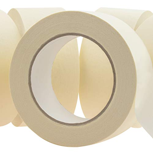 No-Residue 2 Inch, 60 Yard Masking Tape 6 Pk. Easy-Tear, Pro-Grade Removable Painters Tape Great for Home, Office or Commercial Contractor. Clean, Drip-Free Painting with Wide Crepe Paper Rolls