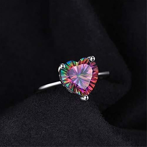 YAHLSEN 925 Simple de la Vendimia de Plata esterlina en Forma de corazón Colorido Versátil tamaño de Las señoras circón Anillo, Anillo: 9 Q