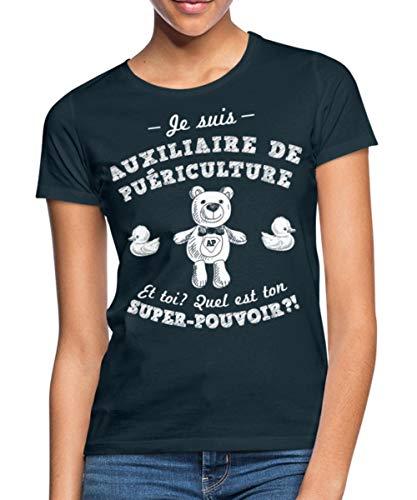 Spreadshirt Je suis Auxiliaire De Puériculture T-Shirt Femme, L, Marine