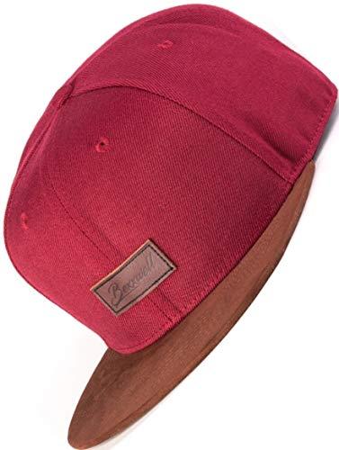 Bexxwell Snapback Cap rood met lederen patch en scherm in suède look (optimale pasvorm, dop, rood, uniseks)