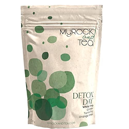 DETOX DAY – Té blanco con cúrcuma antioxidante, purificante, aliado adelgazante: 100% natural, plantas procedentes de la agricultura biológica, baja en teina, sin azúcar, sin aroma añadido. Vrac 70 g.