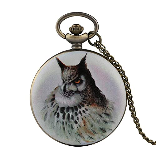 DZNOY Reloj de bolsillo, reloj de bolsillo de cuarzo con diseño de búho, reloj blanco, reloj analógico para hombre, collar y colgante de bolsillo, color bronce