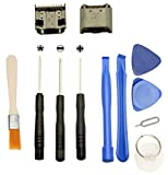 Games&Tech 2 x USB Charging Charger Port Data Connector + Tools for Samsung Galaxy Tab 3 7.0 P3200 P3210 T210 T210R T211 T217A SM-T217S SM-T217A