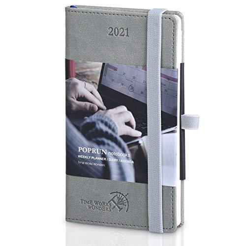 Agenda 2021 Settimanale Tascabile ca. A6 - Copertina Rigida in Pelle Vegana, Pianificatore 2021 con Pagine di Note e Rubrica, Formato Pocket 9 x 14 cm, Grigio