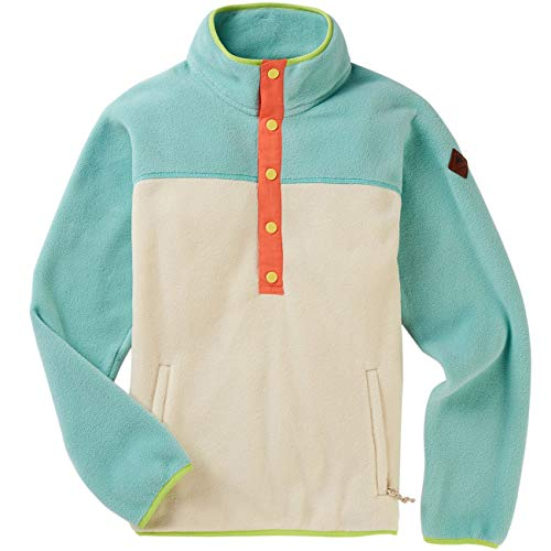 Burton W WB Hearth Snap-Up Fleece Pullover Colorblock-Beige-Blau, Damen Polartec Sweaters und Hoodies, Größe S - Farbe