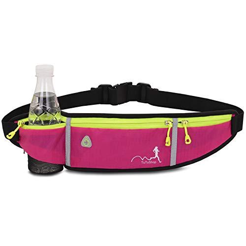 TuTuShop - Riñonera para correr, ligera, ajustable, con correa elástica, soporte para teléfono, riñonera de entrenamiento para hombres, mujeres y niños/as, rosa