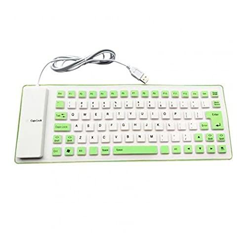 SFQRYP Plegable de Silicona USB Teclado con Cable Impermeable Teclado de Silicona Curl Juego Adecuado para su Ordenador Personal Computadora portátil (Color : Green)