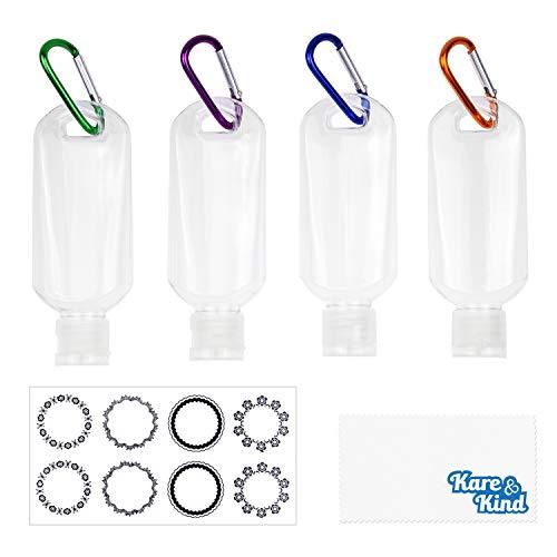 Kare & Kind Clear Tragbare Reiseflaschen - 4X Leere Flaschen mit Klappdeckel, 4X Karabiner, 1x Aufkleber-Etikettenblätter - bis zu 50 ML - Für Handdesinfektionsmittel, Desinfektionsalkohol