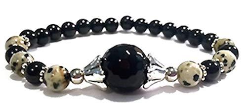 Handmade Black Onyx, Black Tourmaline and Dalmatian Jasper Healing Bracelet 7 Inches