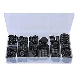 Kit de arandela de goma, 200 piezas, negro 3/16″ 1/8″ 1/4″ 5/16″ 3/8″ 1/2″ 5/8″ 3/4″ Juego de anillos de sellado de arandela de goma, para grifos con fugas, mangueras y más.