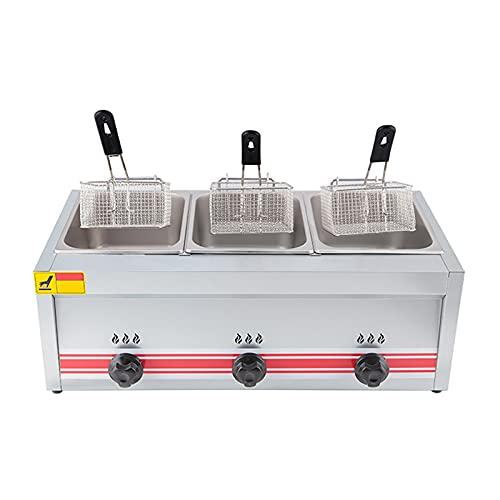Deep Fryer Freidora de Gas 10/20/30 L, freidora de Gas Profesional de Acero Inoxidable Comercial con Cuchara de Cesta para encimera de Restaurante Comercial Máquina para cocinar Alimentos