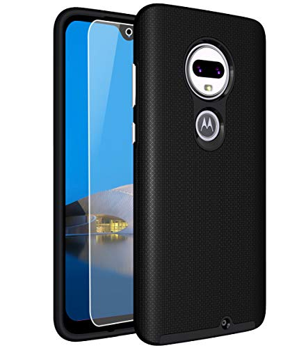 Sunnyw Moto G7 Case, Moto G7 Plus Case with [9H Tempered Glass Screen Protector], Shock Absorption Anti-Scratch Silicone Plastic Dual Layer Hybrid Armor Cover for Motorola Moto G7/G7 Plus (Black)