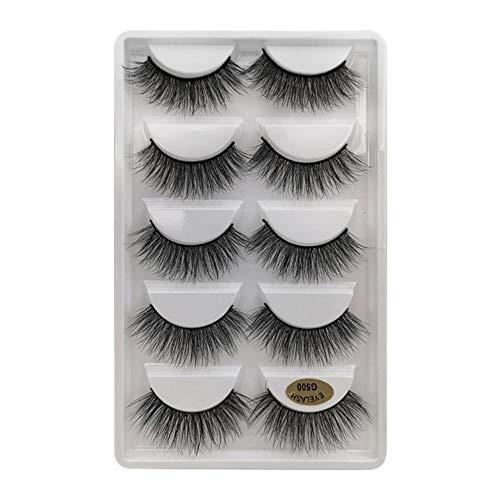 KADIS 5 Pairs Thick Eyelashes False Eyelashes Handmade 3D Lashes Dramatic Fake Eyelash for Make up Faux Cils,G500,Eyelashes