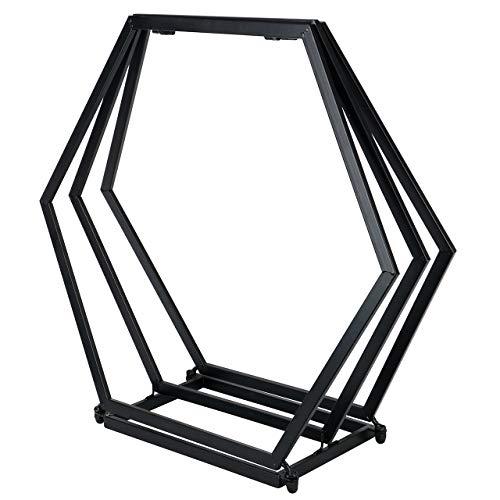 RM Design Kaminholzregal - Kaminholzständer ohne Rückwand, pulverbeschichtetes Metall, schwarz, 90 cm