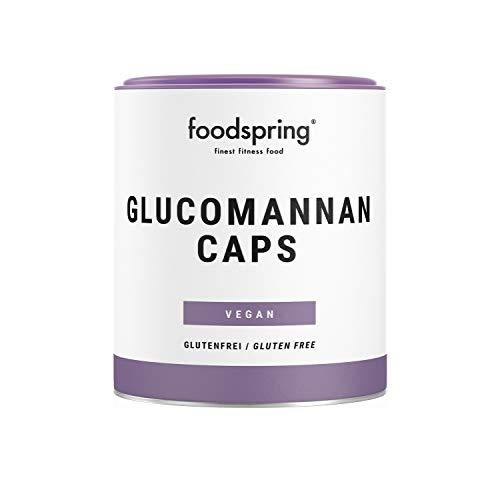 foodspring Glucomannan Kapseln, 120 Stück, Rein pflanzliche Nahrungsergänzung, die zum Gewichtsverlust beiträgt*, 100% vegan in Kapseln aus löslicher Faser