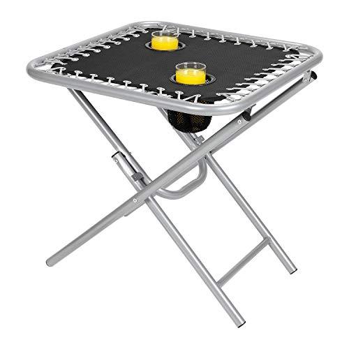 Parkland Folding Outdoor Steel Frame Garden Patio Drinks Side Table with Drinks Holder for Zero Gravity Sun Lounger (Black)