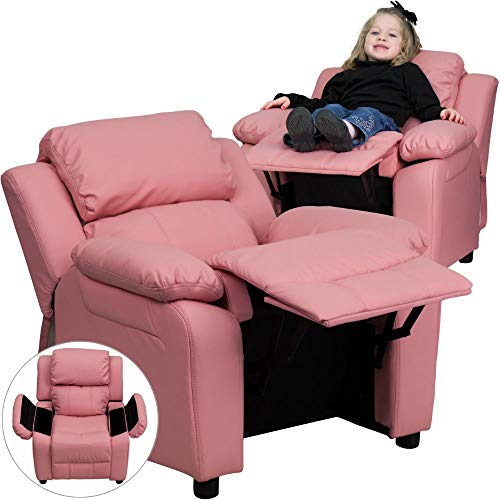 Flash Furniture Deluxe Padded Contemporary Pink Vinyl Kids Recliner with Storage Arms