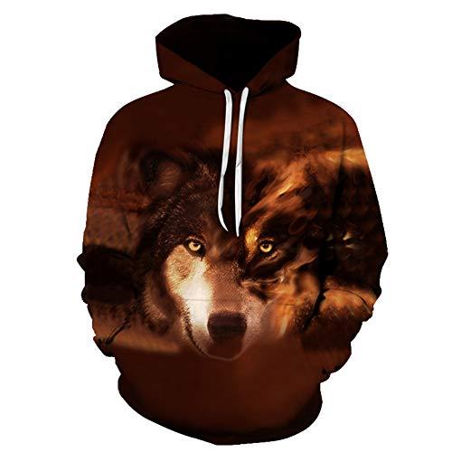 SIFNG Loup Imprimé Hoodies Hommes 3D Hoodies Marque Sweatshirts Vestes Pull Mode Survêtements Animal Streetwear Out Manteau, 5XL.