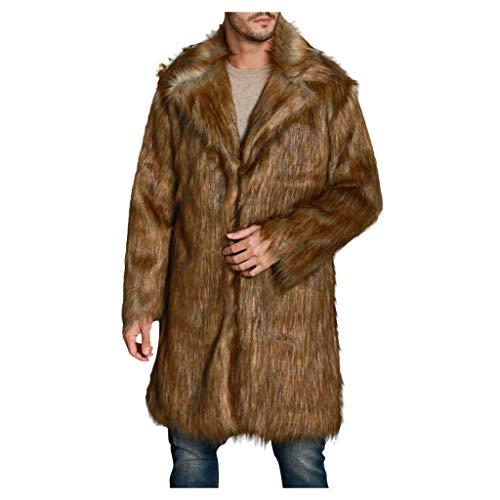 Dasongff Mannen mantel bontmantel nep bont kraag wol jack wintermantel warme dikke pluche winter trenchcoat bontjas jas jas parka overgangsjas