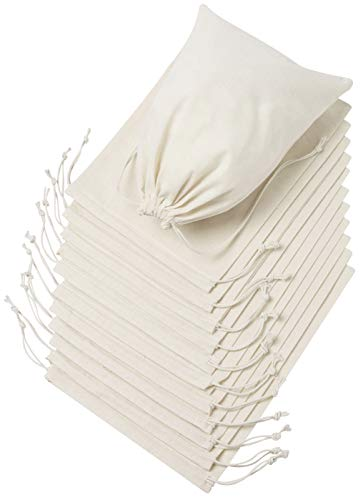 100 Percent Cotton Muslin Drawstring Bags For Shoes Storage Pantry Gifts (12 x 16 inch - 6 pack, Beige)