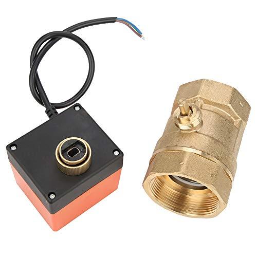 Válvula Motorizada - AC 220V G2 DN50 Válvula de Bola Motorizada Eléctrica de Latón Control de 2 Vías, 3 Hilos y 2 Puntos