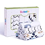 BABELIO Cotton Baby Washcloths, 6 Pcs Super Soft Kids Muslin Towels, 10×10 Super Strong Water Absorption, Burp Cloths, Facial Towels for Baby,Baby Wipes for Sensitive Skin,Reusable Baby Bath Wash