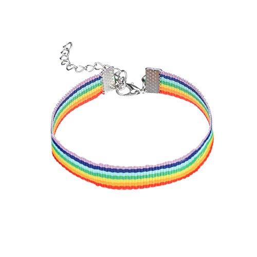 Febelle Pulsera Ajustable de arcoíris Vintage con Cuerda y Orgullo Gay, Pulseras de la Amistad Coloridas