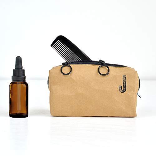 renna deluxe Bartpflege Tasche für Herren personalisiert mit Name als Monogramm – Kleiner Kulturbeutel vegan zur Aufbewahrung von Bart Pflege Produkte Monogramm Braun