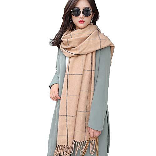 MIAOHAIYAN Damen Winter Schal Kariert Deckenschal Karo Tartan Streifen Plaid Muster Fransen Poncho,Camel