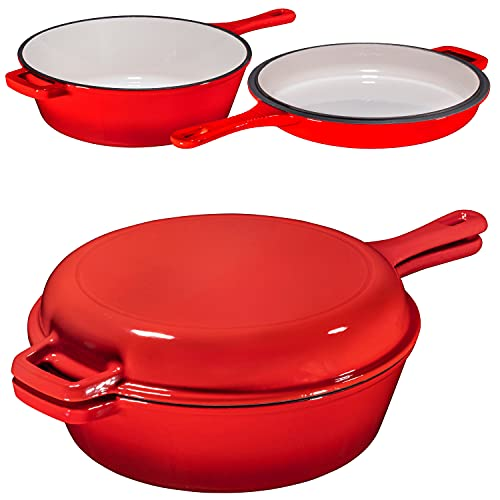 Enameled Red 2-In-1 Cast Iron Multi-Cooker By Bruntmor