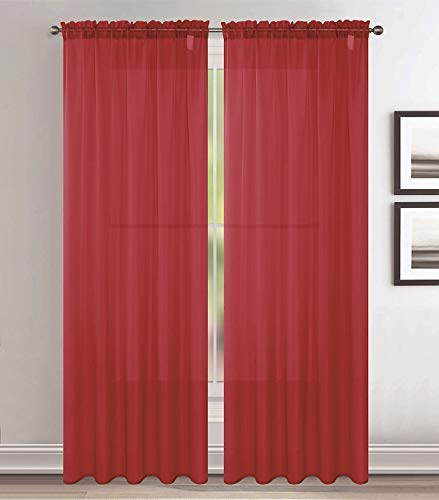 Jody Clarke 2pc Set Sheer Voile Window Treatment Rod Pocket Curtain Panels for Bedroom and Living Room Assorted Colors & Sizes Solid Stitched & Hemmed(Red, 2PC 54 X 84)