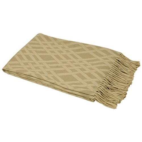 Riva Paoletti Madison Throw - Beige / Naturel - Géométrique Criss Cross Weave Design - Twisted Fringe Edges - Résistant À La Décoloration - 100% Acrylique - 140 X 200 Cm (55\