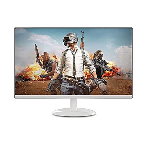 YILANJUN Monitor de Juegos Oficina 24' LED LCD, sin Bordes, 75 HZ, 1080P (FHD 1920 × 1080), VGA HDMI DC, 5MS, Inclinable, Pantalla Recta/Curva, Blanco/Negro