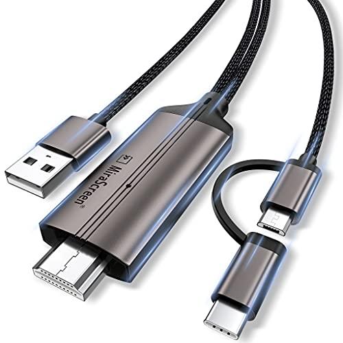 MPIO USB C auf HDMI Kabel für Android Telefon/Tablet zu TV/Projektor/Monitor, 2-in-1 Mirco/MHL adapter HDTV 1080P-Digital-AV-Adapterkabel für alle Android-Telefone (Support Neflix), 2M/6,6 Fuß