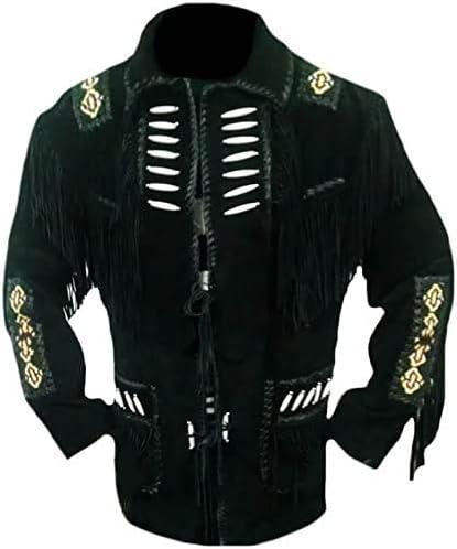 Men's Western Cowboy Fringed Suede Leather Beaded Jacket