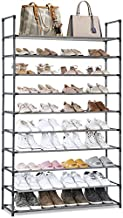 Camabel 10 Tiers Shoe Rack Capacity 130lbs For 60 Pairs Stackable Narrow Expandable Non-Woven Fabric Shoe Storage Organizer Cabinet Tower Shelf Space Saving Assembly No Tools Required Hold High Heeled Shoes Gray