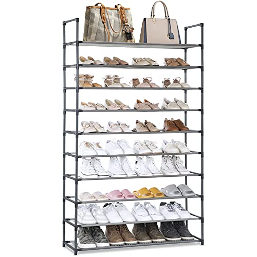 tall shoe storages Camabel 10 Tiers Shoe Rack Capacity 130lbs For 60 Pairs Stackable Narrow Expandable Non-Woven Fabric Shoe Storage Organizer Cabinet Tower Shelf Space Saving Assembly No Tools Required Hold High Heeled Shoes Gray
