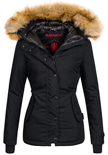 Navahoo warme Damen Winter Jacke Winterjacke Parka Mantel Kunstfell B392 [B392-Laura2-Schwarz-Gr.L]