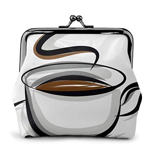Kaffeetasse und Kaffeebohnen Frauen 'S Brieftasche Schnalle Münze Geldbörse Beutel Kisslock Travel Makeup Wallets